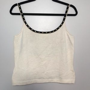 St. John Ivory Knit Tank Built In Bra Gold Rivets